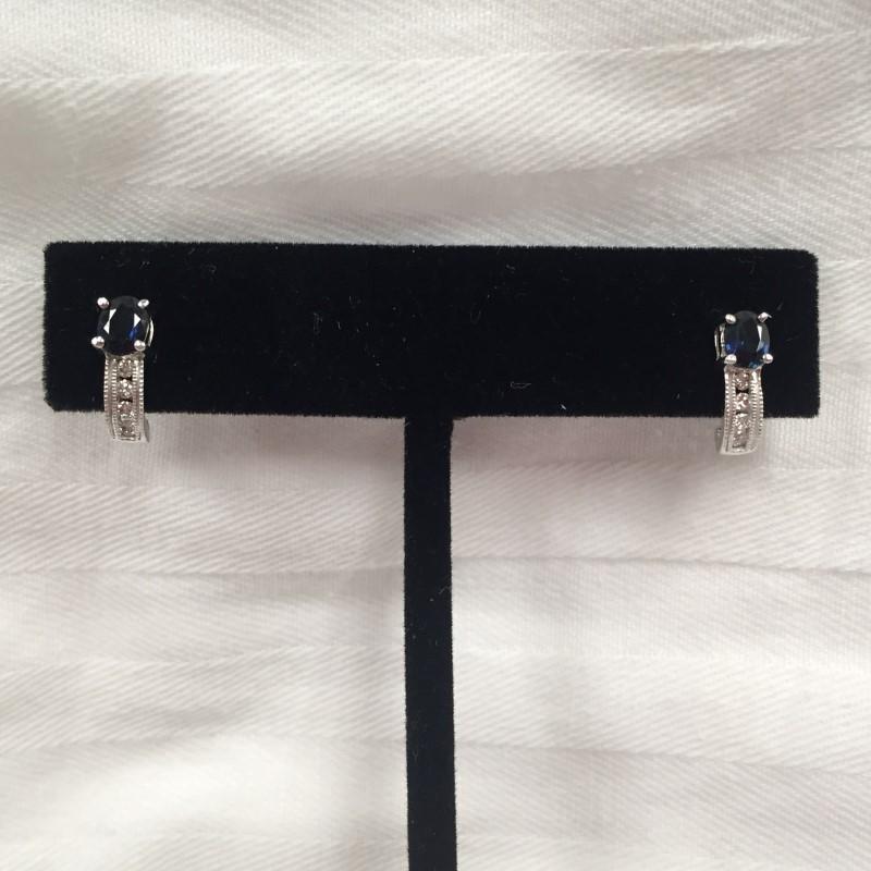 Synthetic Sapphire Gold-Diamond Earrings 8 Diamonds .16 Carat T.W.