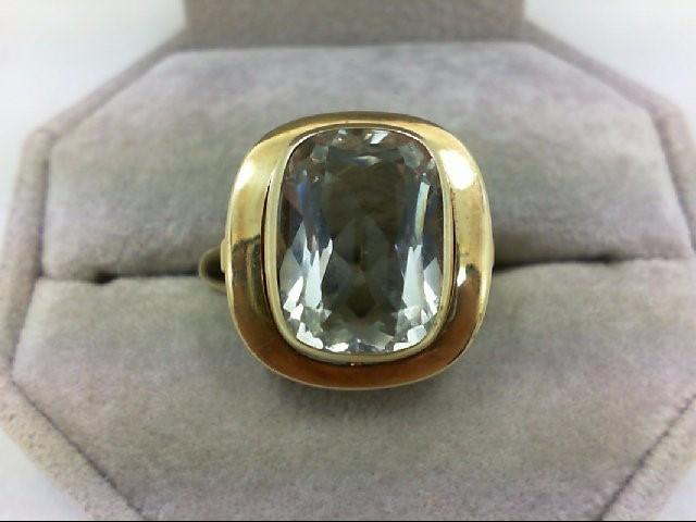 Aquamarine Lady's Stone Ring 10K Yellow Gold 6.1g Size:7.5