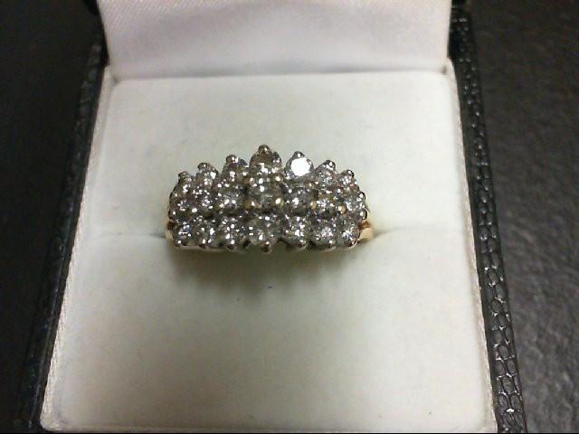 Lady's Diamond Cluster Ring 21 Diamonds 0.84 Carat T.W. 14K Yellow Gold 4.3g