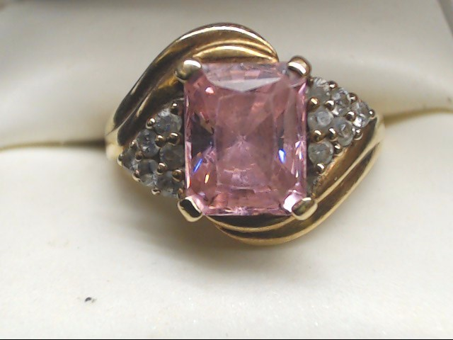 Pink Stone Lady's Stone Ring 10K Yellow Gold 5.5g Size:8.3