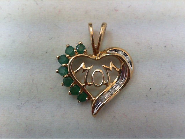 Emerald Gold-Diamond & Stone Pendant 5 Diamonds 0.05 Carat T.W. 14K Yellow Gold