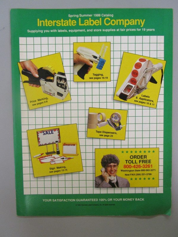 VINTAGE INTERSTATE LABEL COMPANY OFFICE SUPPLY CATALOG, SPRING/ SUMMER 1989, PIC