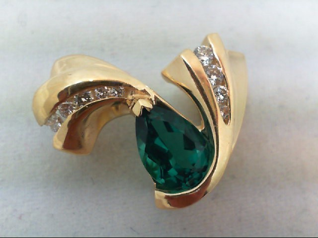 Emerald Gold-Diamond & Stone Pendant 7 Diamonds .21 Carat T.W. 14K Yellow Gold