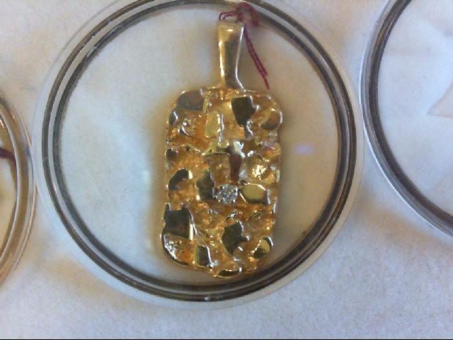 Gold-Diamond Solitaire Pendant .05 CT. 14K Yellow Gold 5.8g