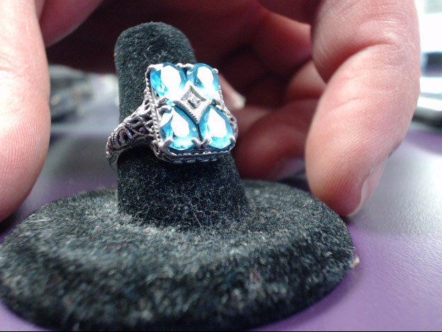 Blue Stone Lady's Silver & Stone Ring 925 Silver 3.9g