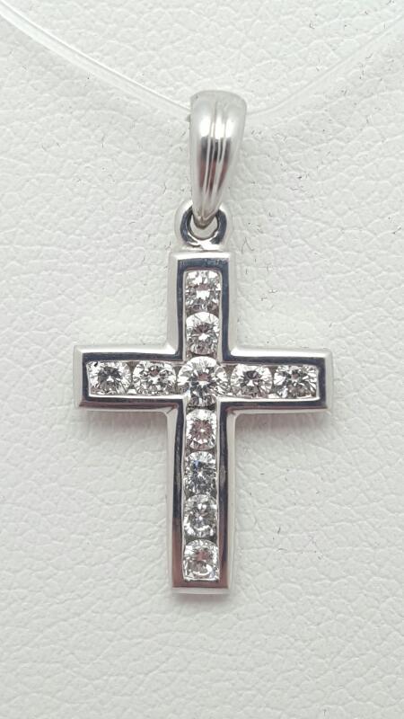 18kw Gold Diamond Cross Pendant 11 Round Diamonds .33 Carat T.W. 1.4g