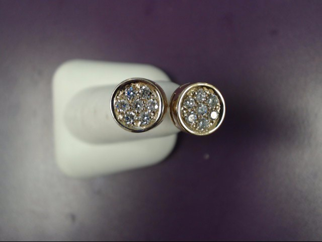 Gold-Diamond Earrings 14 Diamonds .70 Carat T.W. 14K Yellow Gold 3.9g