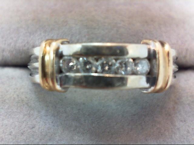Gent's Gold-Diamond Wedding Band 5 Diamonds .30 Carat T.W. 14K 2 Tone Gold 7.3g