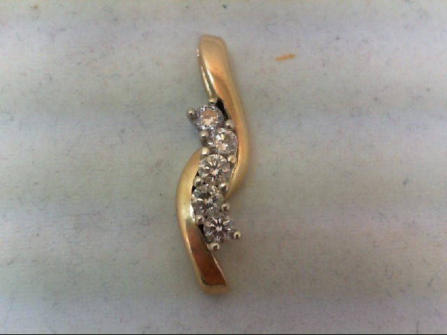 Gold-Multi-Diamond Pendant 5 Diamonds 0.5 Carat T.W. 14K Yellow Gold 3.6g