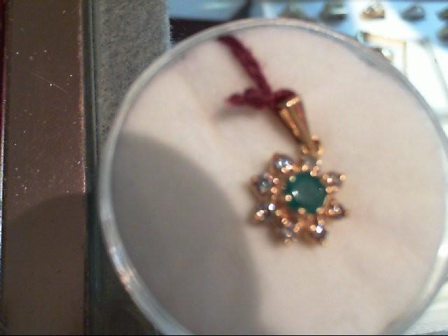 Emerald Gold-Diamond & Stone Pendant 8 Diamonds .16 Carat T.W. 14K Yellow Gold