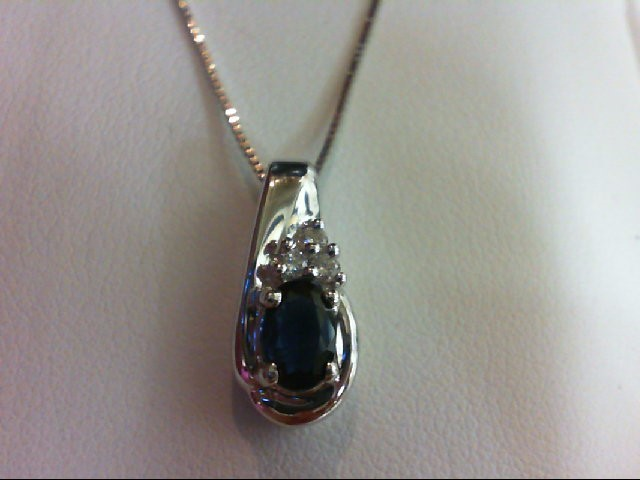 Sapphire Gold-Diamond & Stone Pendant 3 Diamonds 0.06 Carat T.W. 14K White Gold
