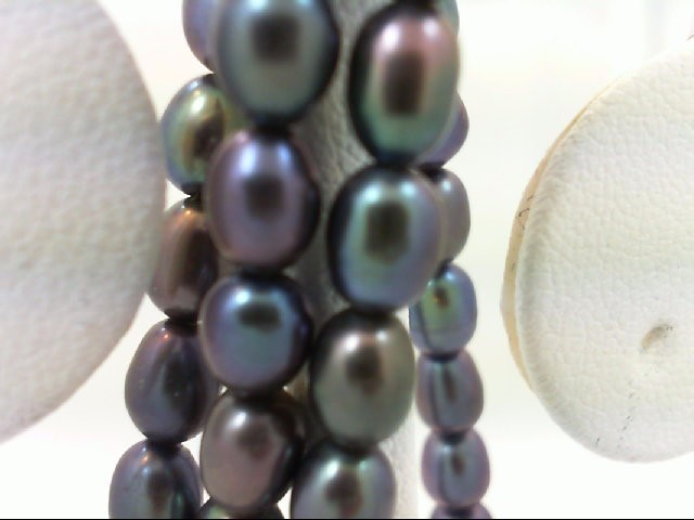 """16"""" Synthetic Pearl Strand Stone Necklace 925 Silver 12.1g"""