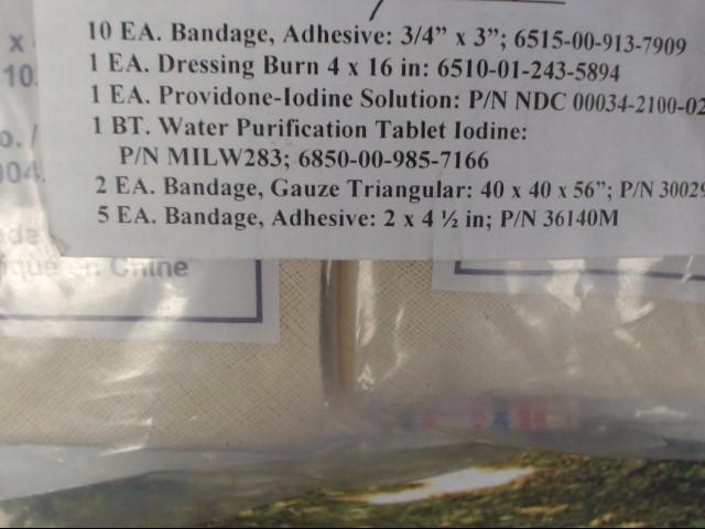 "MINOR FIRST AID KIT  10 BANDAGES-ADHESIVE 3/4"" X 3"", 1 DRESSING BURN 4"" X 16"""