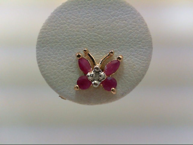 Ruby Silver-Diamond & Stone Earrings 2 Diamonds .02 Carat T.W. 925 Silver 1.2g