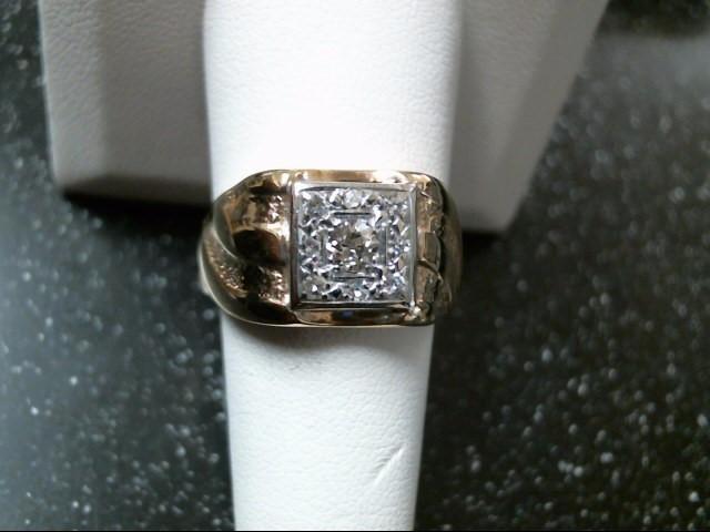 Gent's Diamond Fashion Ring 9 Diamonds .44 Carat T.W. 14K Yellow Gold 7.1g