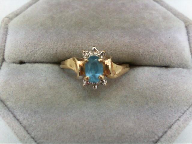 Blue Topaz Lady's Stone Ring 10K Yellow Gold 1.9g