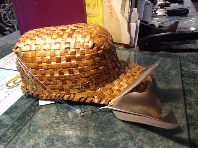 CEDAR BALL CAP WITH FEATHERS AND BEADS