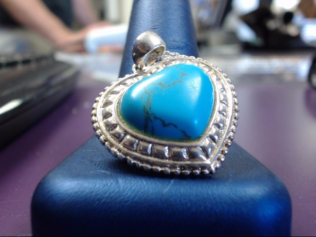 Synthetic Turquoise Silver-Stone Pendant 925 Silver 8.9g