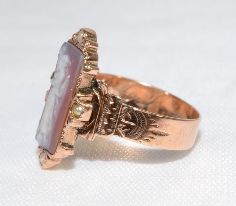 Cameo Lady's Stone Ring 10K Rose Gold 2.61g Size:5.8