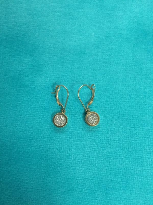 Gold-Diamond Earrings 8 Diamonds .08 Carat T.W. 14K Yellow Gold 1.5dwt