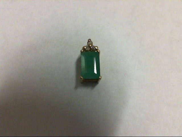 Emerald Gold-Diamond & Stone Pendant 3 Diamonds 0.03 Carat T.W. 14K Yellow Gold
