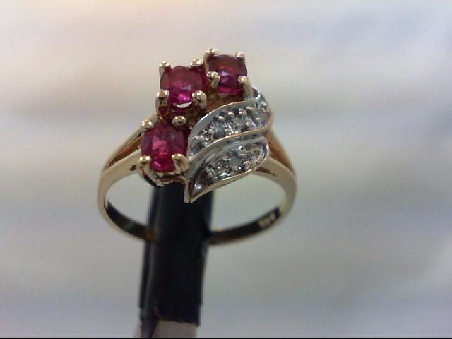 Ruby Lady's Stone & Diamond Ring 4 Diamonds 0.04 Carat T.W. 14K Yellow Gold 2.8g