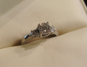 "Love Story ""Only You"" Engagement Ring, .61 ctw SI2, J Diamonds, White Gold, 14K"
