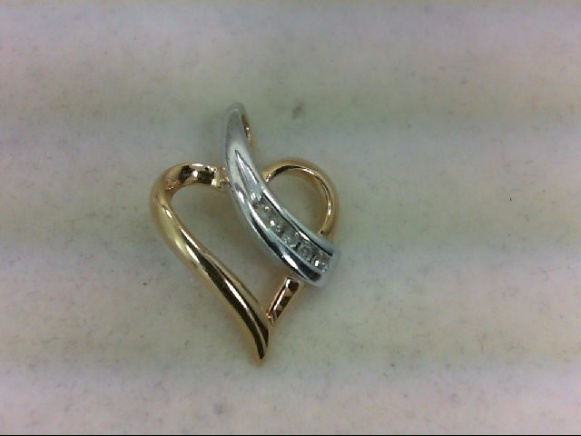 Gold-Multi-Diamond Pendant 5 Diamonds 0.1 Carat T.W. 10K 2 Tone Gold 1.8g