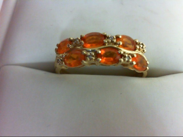 Citrine Lady's Stone Ring 14K Yellow Gold 2.2g Size:8