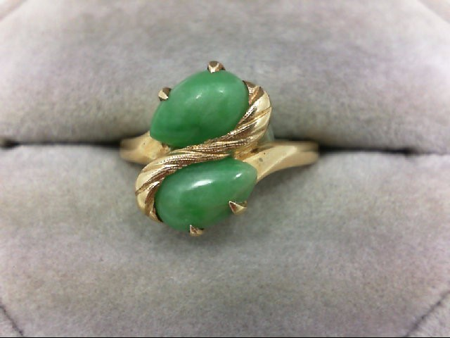 Jade Lady's Stone Ring 14K Yellow Gold 3.6g Size:5.75