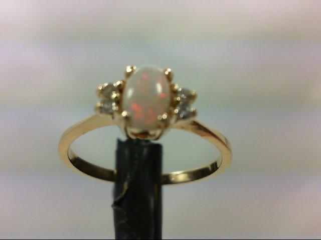 Opal Lady's Stone & Diamond Ring 4 Diamonds .08 Carat T.W. 14K Yellow Gold 1.6g