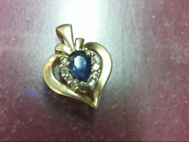 Sapphire Gold-Diamond & Stone Pendant 10 Diamonds 0.1 Carat T.W. 10K Yellow Gold