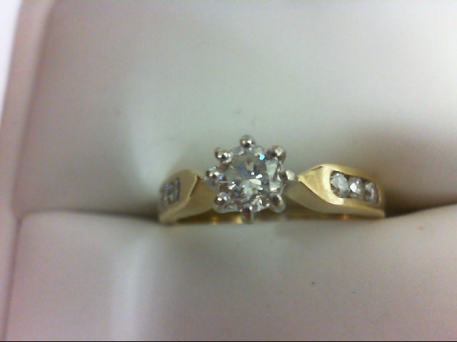 Lady's Diamond Engagement Ring 7 Diamonds 0.53 Carat T.W. 18K Yellow Gold 3.2g S