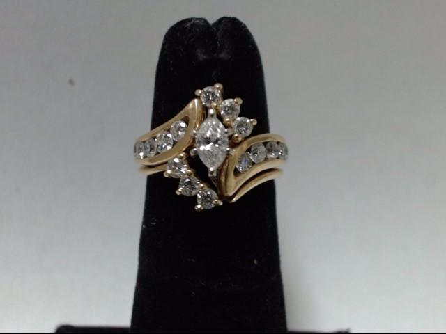 Lady's Diamond Wedding Set 17 Diamonds 1.15 Carat T.W. 14K Yellow Gold 6.44g