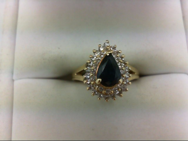 Sapphire Lady's Stone & Diamond Ring 38 Diamonds 0.38 Carat T.W. 14K Yellow Gold