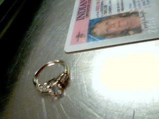 Blue Stone Lady's Stone & Diamond Ring 4 Diamonds .08 Carat T.W. 14K White Gold