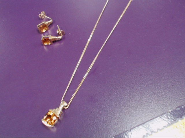 """22"""" Gold Chain 14K Yellow Gold 8.8g with Citrine pendant and matching earrings"""