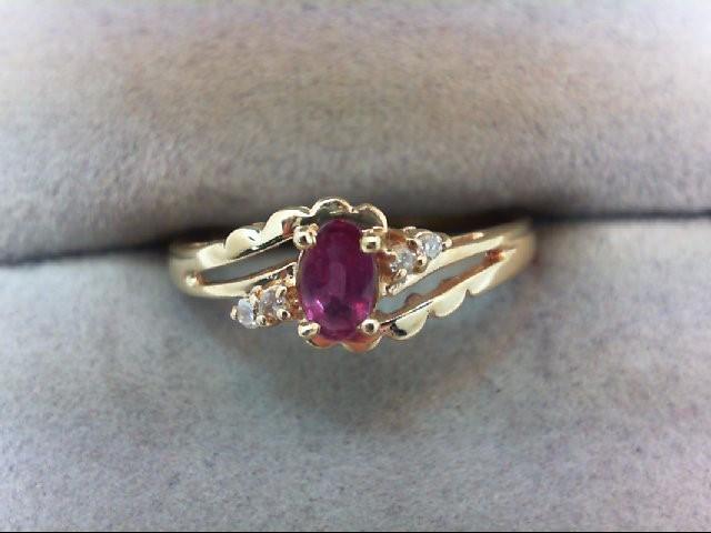 Ruby Lady's Stone & Diamond Ring 4 Diamonds .04 Carat T.W. 14K Yellow Gold 1.5g