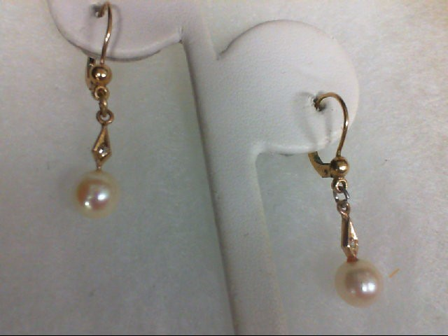 Pearl Gold-Stone Earrings 14K Yellow Gold 2.1g