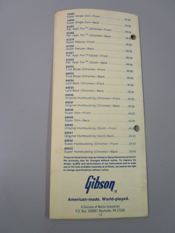 1984 GIBSON GUITAR SUGGESTED RETAIL PRICE LIST BROCHURE, EFFECTIVE JUNE 23, 1984