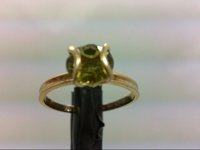 Peridot Lady's Stone Ring 10K Yellow Gold 1.3g Size:5
