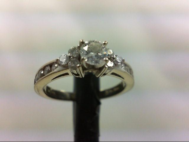 Lady's Diamond Engagement Ring 17 Diamonds 0.81 Carat T.W. 14K White Gold 3.4g