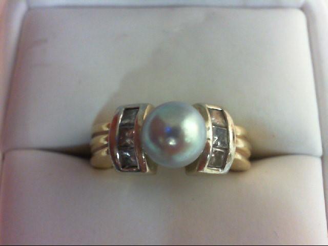 Pearl Lady's Stone & Diamond Ring 6 Diamonds 0.6 Carat T.W. 14K 2 Tone Gold 9g