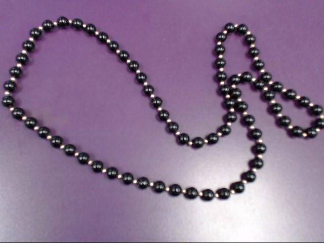 "30"" Onyx Stone Necklace 14K Yellow Gold 53.7g"