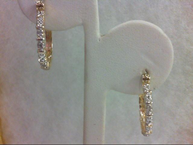 Silver-Diamond Earrings 2 Diamonds 0.02 Carat T.W. 925 Silver 2.7g