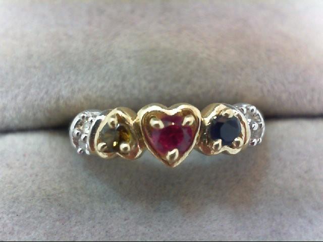 Lady's Diamond Fashion Ring 4 Diamonds .04 Carat T.W. 14K 2 Tone Gold 4.2g