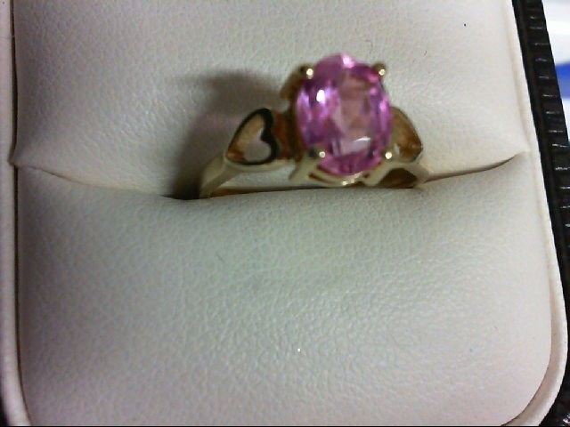 Pink Sapphire Lady's Stone Ring 10K Yellow Gold 1.9g