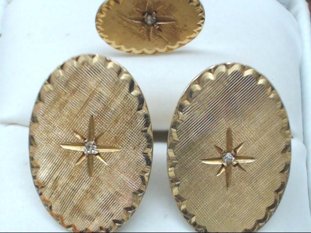 Gold-Diamond Cuff Links & Tie Pin 3 Diamonds .03 Carat T.W. 14K Yellow Gold 8.9g