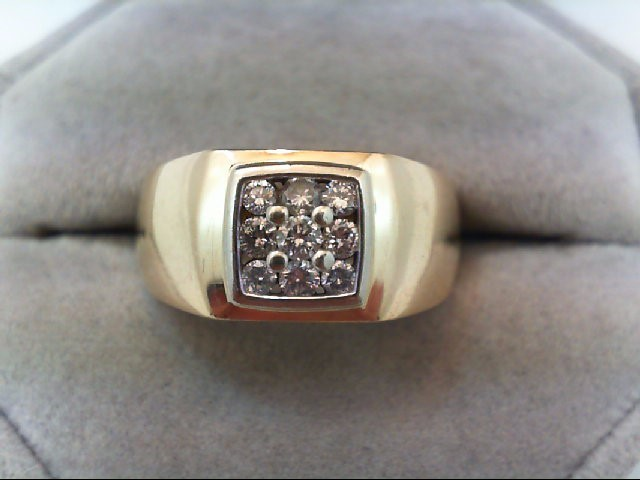 Gent's Diamond Fashion Ring 9 Diamonds .41 Carat T.W. 14K Yellow Gold 8g