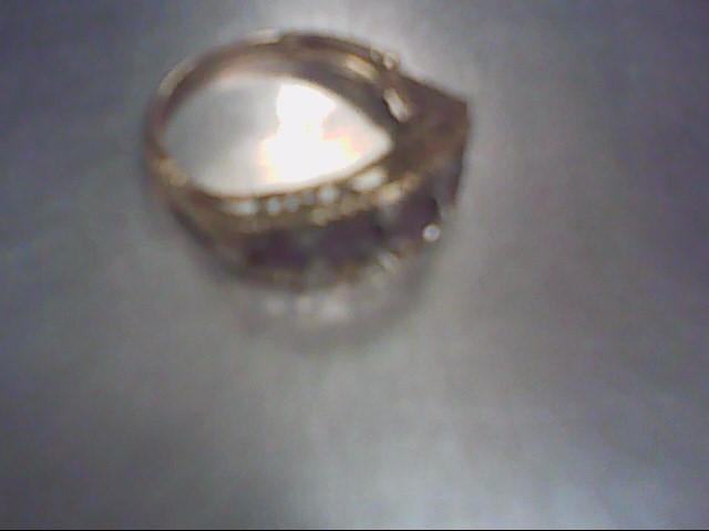 Synthetic Amethyst Lady's Stone & Diamond Ring 7 Diamonds .035 Carat T.W.